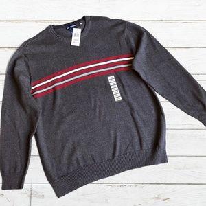John Ashford Gray/Red Crewneck Sweater